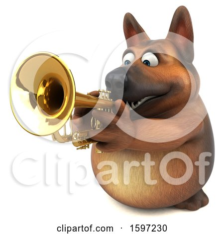 Clipart of a 3d German Shepherd Dog Playing a Trumpet, on a White Background - Royalty Free Illustration by Julos