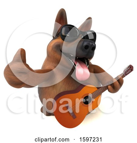 Clipart of a 3d German Shepherd Dog Holding a Guitar, on a White Background - Royalty Free Illustration by Julos
