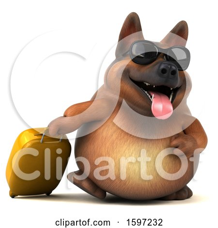 Clipart of a 3d German Shepherd Dog Traveling, on a White Background - Royalty Free Illustration by Julos
