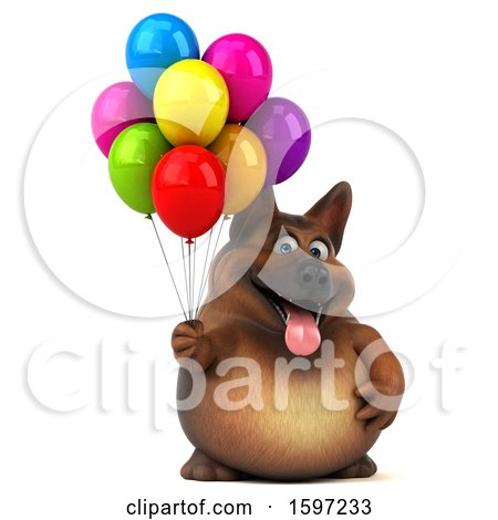 Clipart of a 3d German Shepherd Dog Holding Balloons, on a White Background - Royalty Free Illustration by Julos