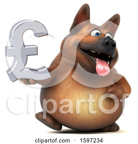 Clipart of a 3d German Shepherd Dog Holding a Pound Currency Symbol, on a White Background - Royalty Free Illustration by Julos