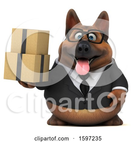 Clipart of a 3d Business German Shepherd Dog Holding Boxes, on a White Background - Royalty Free Illustration by Julos