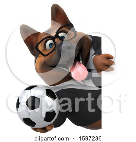 Clipart of a 3d Business German Shepherd Dog Holding a Soccer Ball, on a White Background - Royalty Free Illustration by Julos