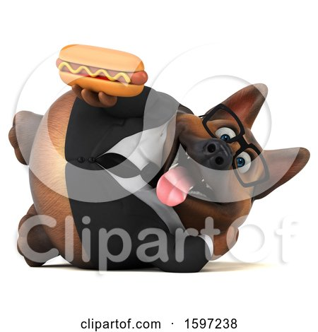 Clipart of a 3d Business German Shepherd Dog Holding a Hot Dog, on a White Background - Royalty Free Illustration by Julos