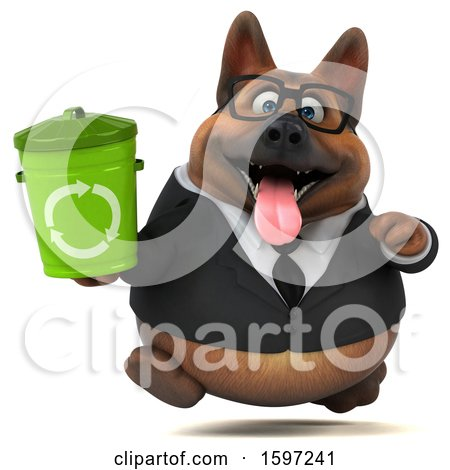 Clipart of a 3d Business German Shepherd Dog Holding a Recycle Bin, on a White Background - Royalty Free Illustration by Julos