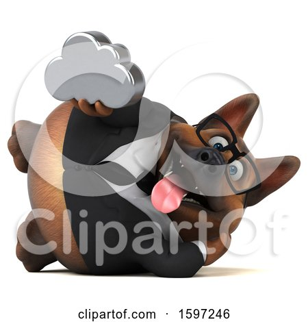 Clipart of a 3d Business German Shepherd Dog Holding a Cloud, on a White Background - Royalty Free Illustration by Julos