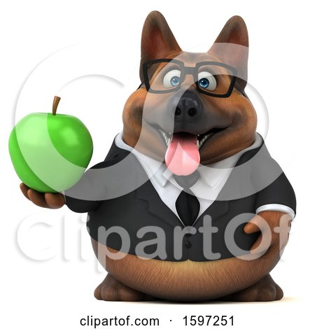 Clipart of a 3d Business German Shepherd Dog Holding an Apple, on a White Background - Royalty Free Illustration by Julos