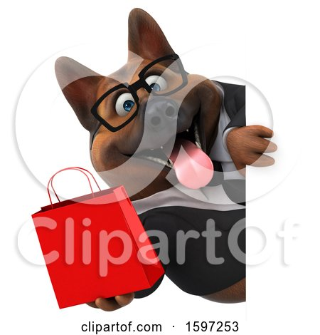 Clipart of a 3d Business German Shepherd Dog Holding a Gift Bag, on a White Background - Royalty Free Illustration by Julos