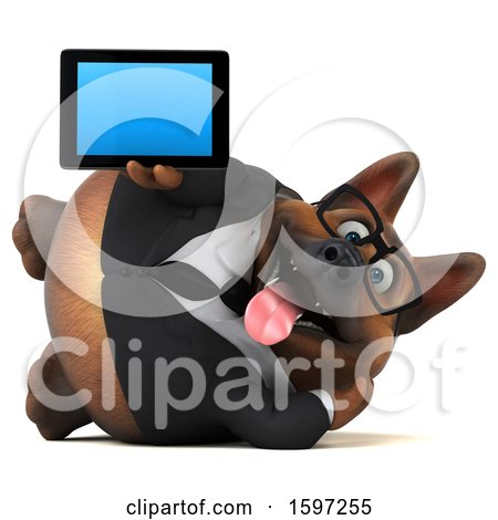 Clipart of a 3d Business German Shepherd Dog Holding a Tablet, on a White Background - Royalty Free Illustration by Julos
