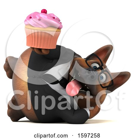 Clipart of a 3d Business German Shepherd Dog Holding a Cupcake, on a White Background - Royalty Free Illustration by Julos