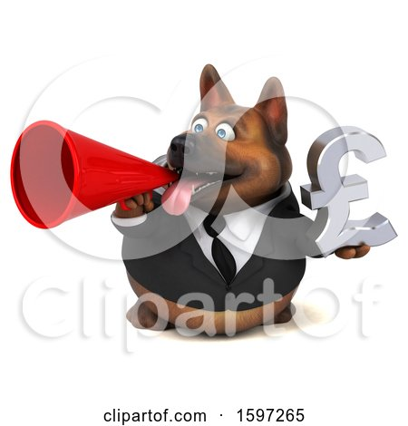 Clipart of a 3d Business German Shepherd Dog Holding a Pound Currency Symbol, on a White Background - Royalty Free Illustration by Julos