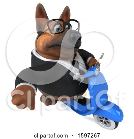 Clipart of a 3d Business German Shepherd Dog Riding a Scooter, on a White Background - Royalty Free Illustration by Julos