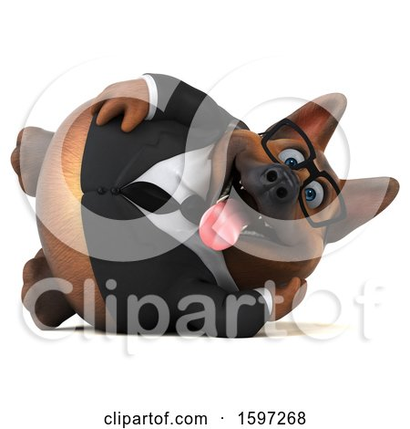 Clipart of a 3d Business German Shepherd Dog Resting, on a White Background - Royalty Free Illustration by Julos