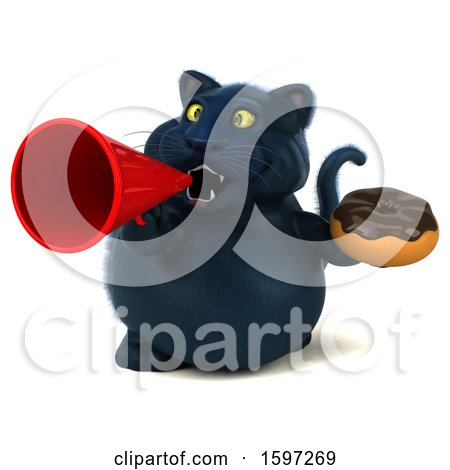 Clipart of a 3d Black Kitty Cat Holding a Donut, on a White Background - Royalty Free Illustration by Julos
