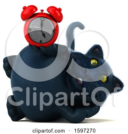 Clipart of a 3d Black Kitty Cat Holding an Alarm Clock, on a White Background - Royalty Free Illustration by Julos