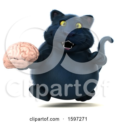 Clipart of a 3d Black Kitty Cat Holding a Brain, on a White Background - Royalty Free Illustration by Julos