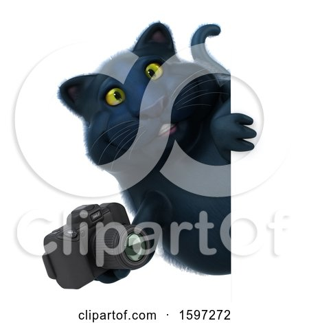 Clipart of a 3d Black Kitty Cat Holding a Camera, on a White Background - Royalty Free Illustration by Julos