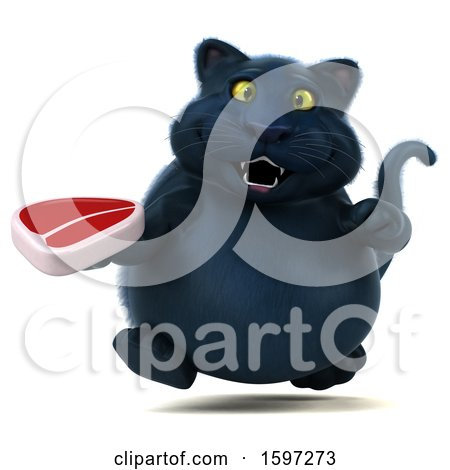 Clipart of a 3d Black Kitty Cat Holding a Steak, on a White Background - Royalty Free Illustration by Julos