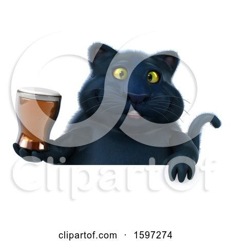 Clipart of a 3d Black Kitty Cat Holding a Beer, on a White Background - Royalty Free Illustration by Julos