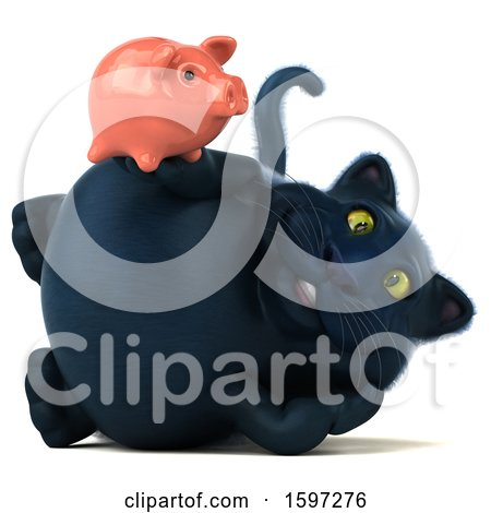 Clipart of a 3d Black Kitty Cat Holding a Piggy Bank, on a White Background - Royalty Free Illustration by Julos