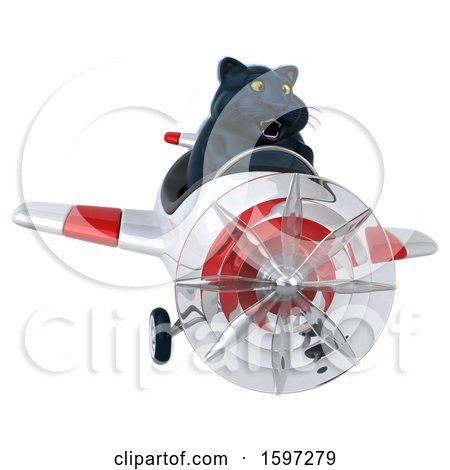 Clipart of a 3d Black Kitty Cat Flying a Plane, on a White Background - Royalty Free Illustration by Julos