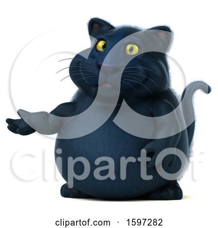 Clipart of a 3d Black Kitty Cat Presenting, on a White Background - Royalty Free Illustration by Julos