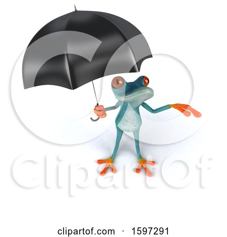 Clipart of a 3d Blue Frog Holding an Umbrella, on a White Background - Royalty Free Illustration by Julos