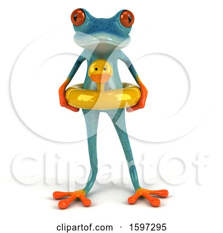 Clipart of a 3d Blue Frog Wearing an Inner Tube, on a White Background - Royalty Free Illustration by Julos