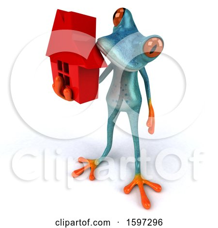 Clipart of a 3d Blue Frog Holding a House, on a White Background - Royalty Free Illustration by Julos