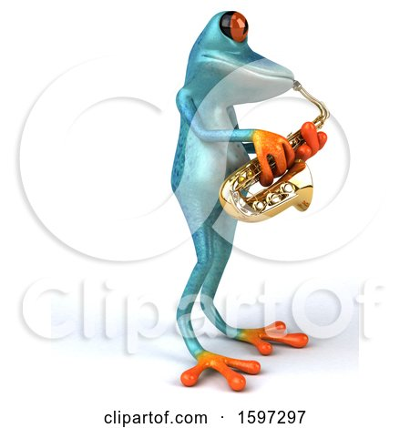 Clipart of a 3d Blue Frog Playing a Saxophone, on a White Background - Royalty Free Illustration by Julos