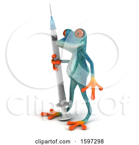 Clipart of a 3d Blue Frog Holding a Syringe, on a White Background - Royalty Free Illustration by Julos