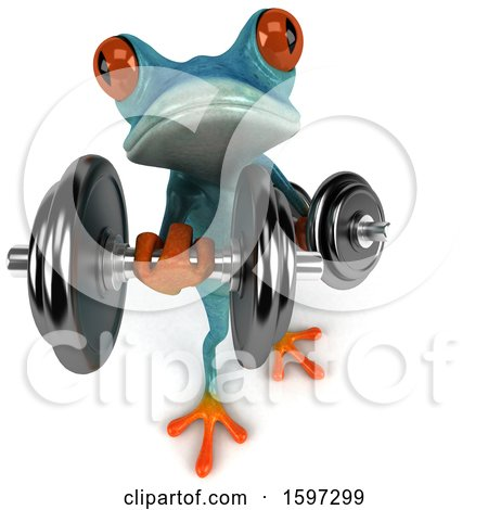 Clipart of a 3d Blue Frog Working out with Dumbbells, on a White Background - Royalty Free Illustration by Julos
