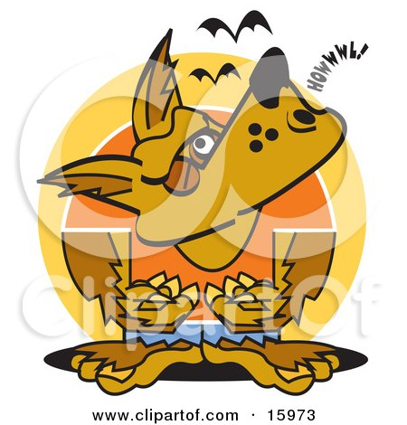 Werewolf Howling At The Moon While Bats Fly Above Clipart Illustration by Andy Nortnik
