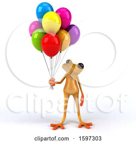 Clipart of a 3d Yellow Frog Holding Balloons, on a White Background - Royalty Free Illustration by Julos