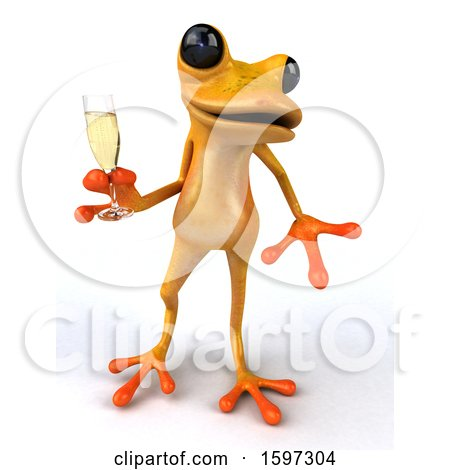 Clipart of a 3d Yellow Frog Holding a Glass of Champagne, on a White Background - Royalty Free Illustration by Julos