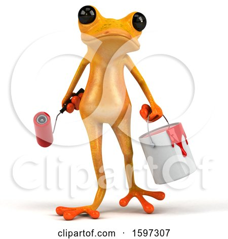 Clipart of a 3d Yellow Frog Painter, on a White Background - Royalty Free Illustration by Julos