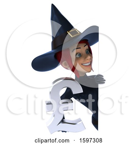 Clipart of a 3d Sexy Blue Witch Holding a Pound Currency Symbol, on a White Background - Royalty Free Illustration by Julos