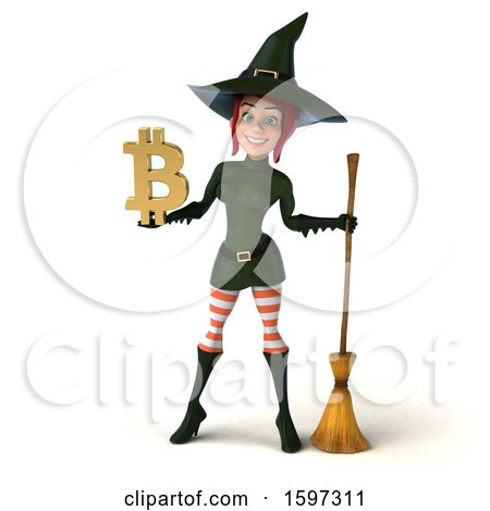 Clipart of a 3d Sexy Green Witch Holding a Bitcoin Symbol, on a White Background - Royalty Free Illustration by Julos