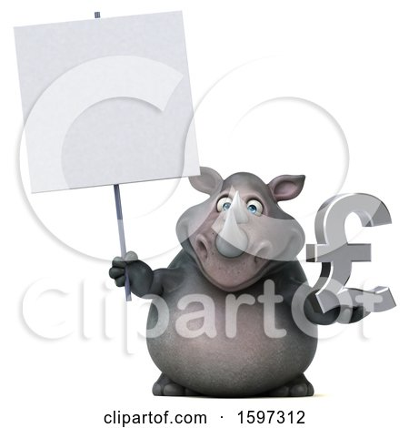 Clipart of a 3d Rhinoceros Holding a Pound Currency Symbol, on a White Background - Royalty Free Illustration by Julos
