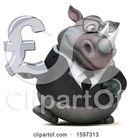 Clipart of a 3d Business Rhinoceros Holding a Pound Currency Symbol, on a White Background - Royalty Free Illustration by Julos