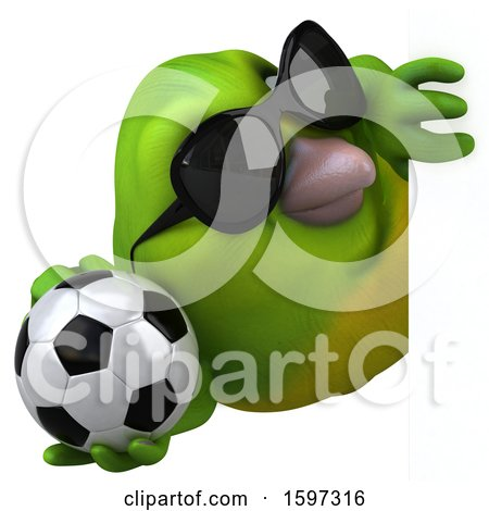 Clipart of a 3d Green Bird Holding a Soccer Ball, on a White Background - Royalty Free Illustration by Julos