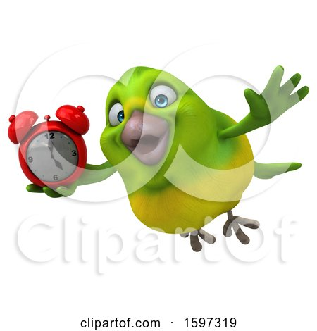 Clipart of a 3d Green Bird Holding an Alarm Clock, on a White Background - Royalty Free Illustration by Julos