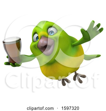 Clipart of a 3d Green Bird Holding a Beer, on a White Background - Royalty Free Illustration by Julos
