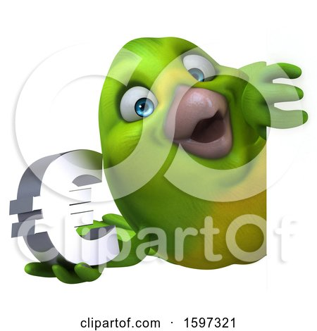 Clipart of a 3d Green Bird Holding a Euro Currency Symbol, on a White Background - Royalty Free Illustration by Julos