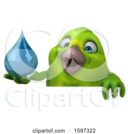 Clipart of a 3d Green Bird Holding a Water Drop, on a White Background - Royalty Free Illustration by Julos