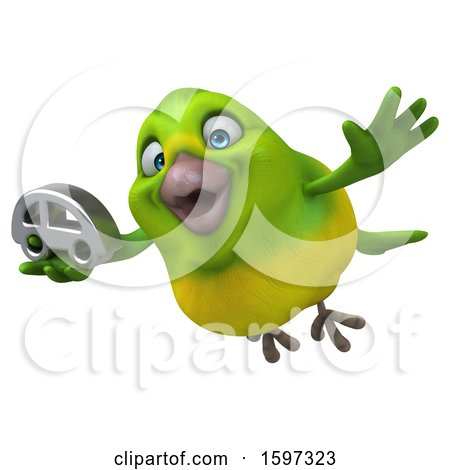 Clipart of a 3d Green Bird Holding a Car, on a White Background - Royalty Free Illustration by Julos