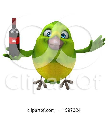 Clipart of a 3d Green Bird Holding Wine, on a White Background - Royalty Free Illustration by Julos
