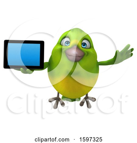 Clipart of a 3d Green Bird Holding a Tablet, on a White Background - Royalty Free Illustration by Julos