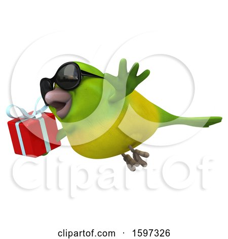 Clipart of a 3d Green Bird Holding a Gift, on a White Background - Royalty Free Illustration by Julos