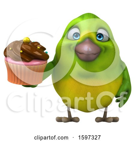 Clipart of a 3d Green Bird Holding a Cupcake, on a White Background - Royalty Free Illustration by Julos